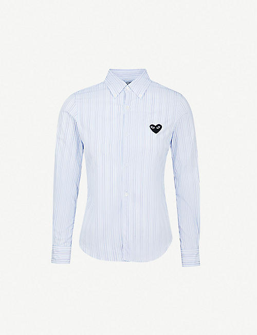 COMME DES GARCONS PLAY Heart-embroidered pinstriped cotton shirt