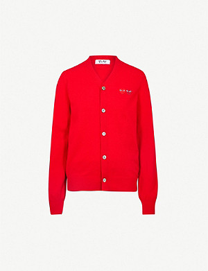COMME DES GARCONS PLAY 2 Heart-embroidered wool cardigan