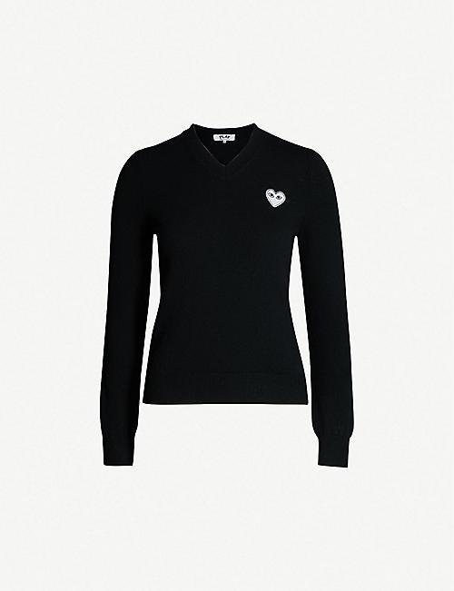 24cd66407 COMME DES GARCONS PLAY Heart-appliqué wool jumper