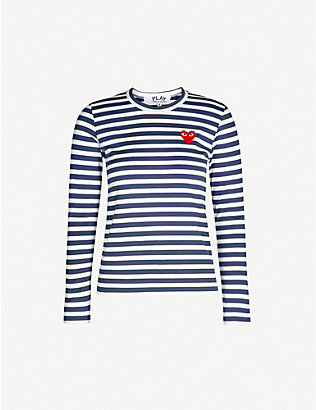 COMME DES GARCONS PLAY: Heart-embroidered striped cotton-jersey top