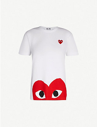 COMME DES GARCONS PLAY: Big heart-appliqué cotton-jersey T-shirt