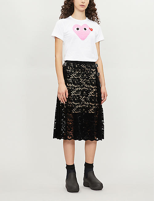 COMME DES GARCONS PLAY 2 Heart-print cotton-jersey T-shirt