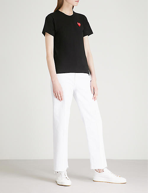 COMME DES GARCONS PLAY Heart-embroidered cotton-jersey T-shirt