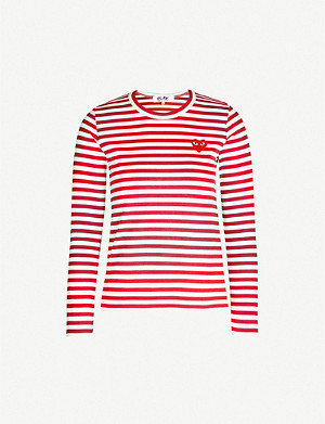 COMME DES GARCONS PLAY Heart patch striped cotton-jersey top