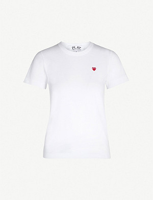 COMME DES GARCONS PLAY Heart-appliquéd cotton-jersey T-shirt