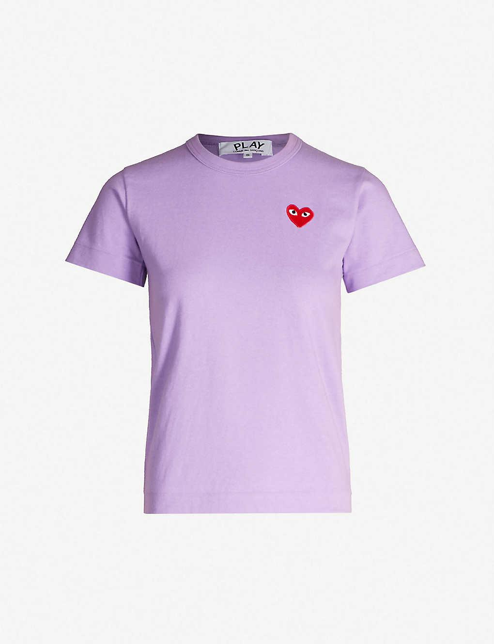 6e2c7d4e1cf COMME DES GARCONS PLAY - Heart-shaped logo appliqué cotton T-shirt ...
