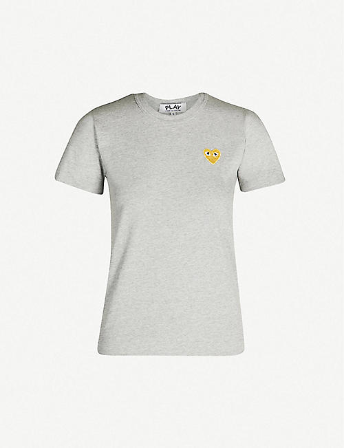 COMME DES GARCONS PLAY Gold heart-embroidered cotton-jersey T-shirt