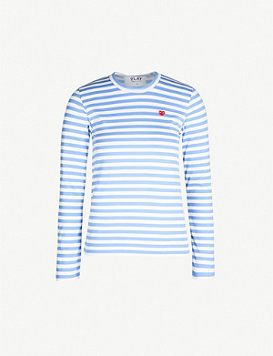 COMME DES GARCONS PLAY Heart-embroidered striped cotton-jersey top