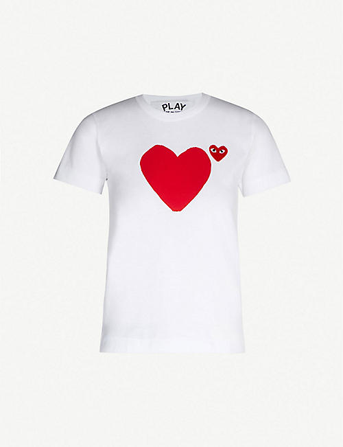 1006022077ed08 COMME DES GARCONS PLAY Heart-appliquéd cotton-jersey T-shirt