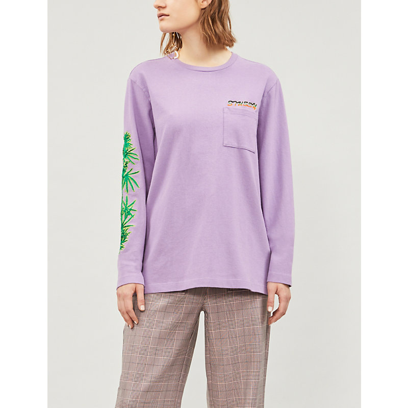 STUSSY | Leaves Long Sleeved Cotton-Jersey T-Shirt | Goxip