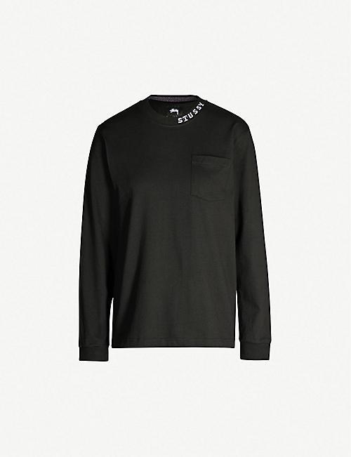 a6a5315b STUSSY Branded-neck cotton-jersey top