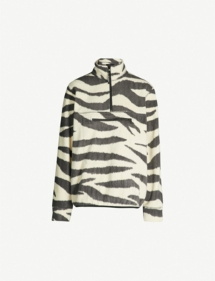 STUSSY Zebra-print high-neck fleece top