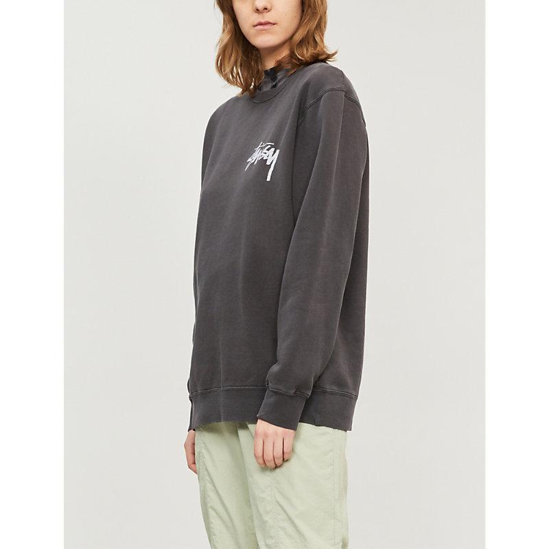 STUSSY | Logo-Print Jersey Sweatshirt | Goxip