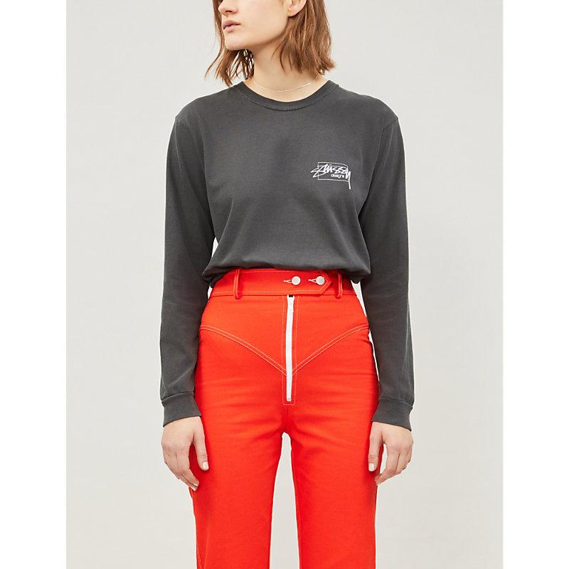 STUSSY | Stussy Ladies Black Box Logo Cotton-Jersey Top, Size: S | Goxip