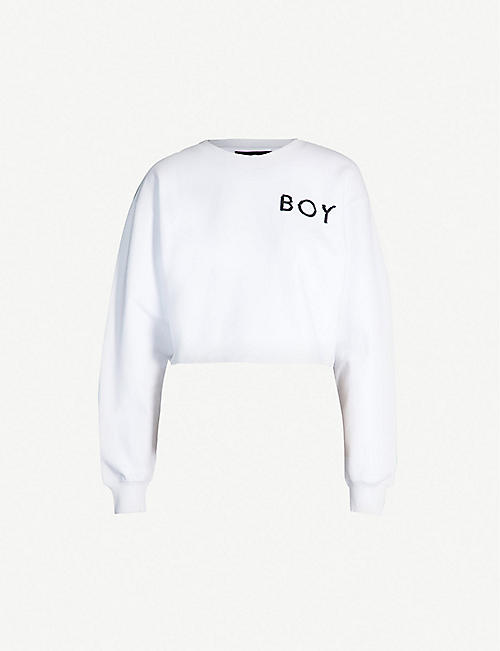 127bbc865a45 BOY LONDON Eagle Glitch logo-print cropped cotton-jersey sweatshirt