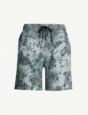 BOY LONDON Logo-print tie-dye cotton-jersey shorts