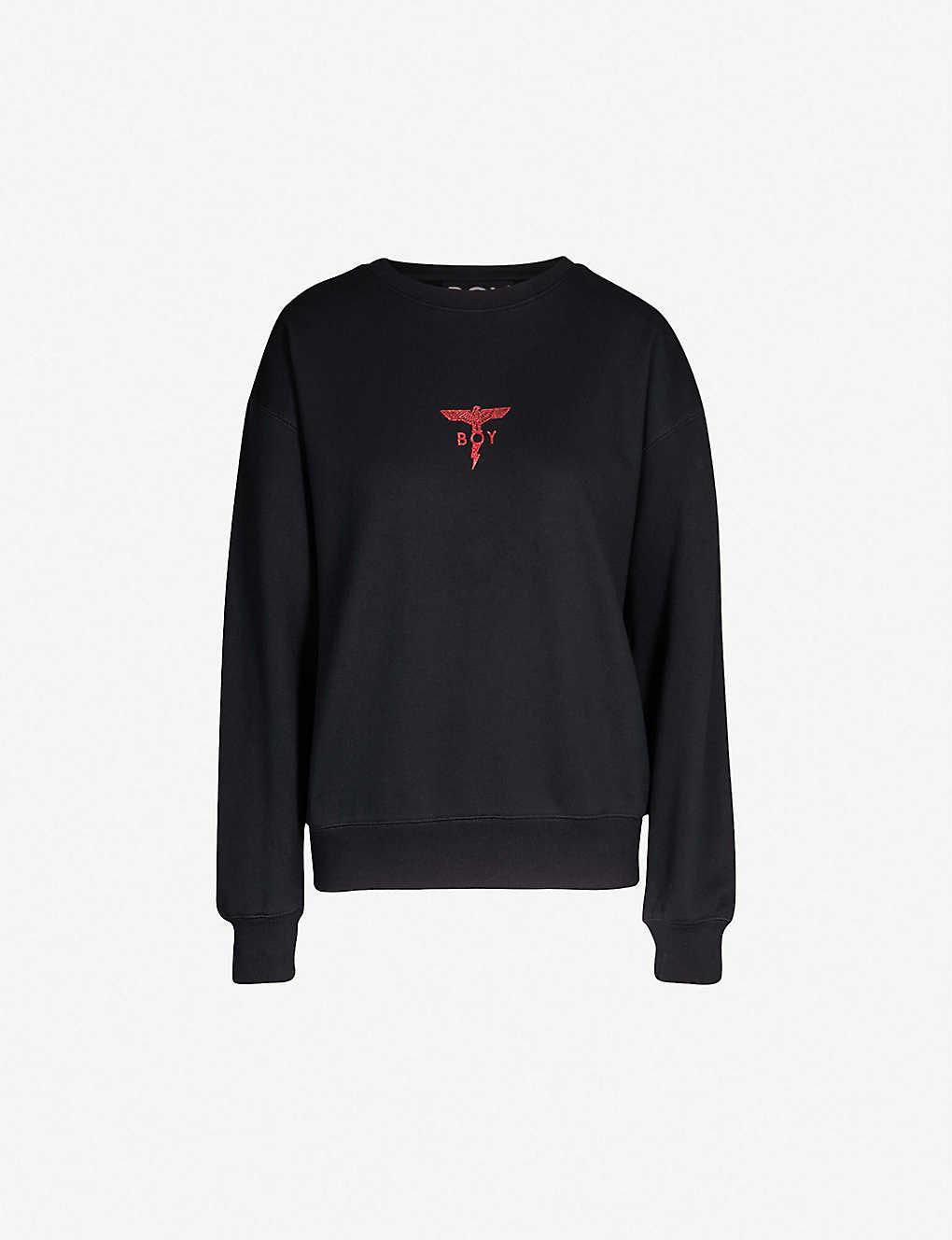 de0bdb065 Lightning logo-print cotton-jersey sweatshirt - Blackred gold ...