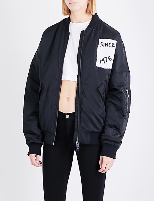 1426f65cfc37 BOY LONDON Tape-print shell bomber jacket
