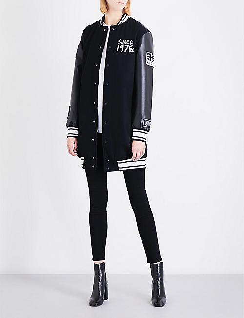 72dffe564eba BOY LONDON Tape-print wool-blend varsity jacket