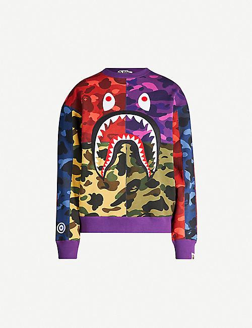 65dc3cdd BAPE Colour-blocked camouflage shark cotton T-shirt