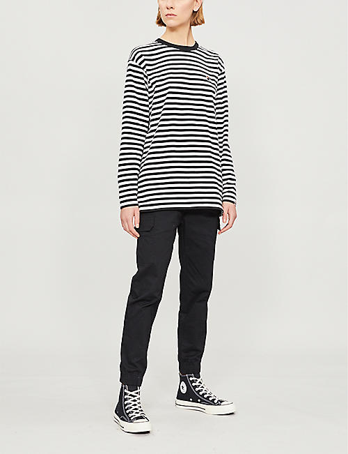 BAPE Striped cotton-jersey top