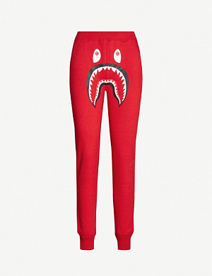 BAPE Shark-print cotton-jersey jogging bottoms