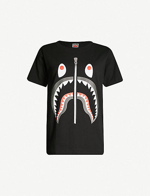 BAPE Shark-print cotton-jersey T-shirt f671825ac8
