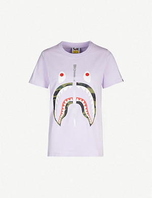 BAPE Shark graphic-print cotton-jersey T-shirt