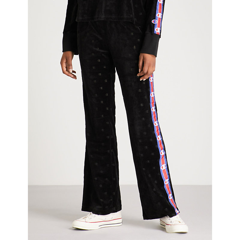 Logo-Embroidered Velvet Jogging Bottoms in Black