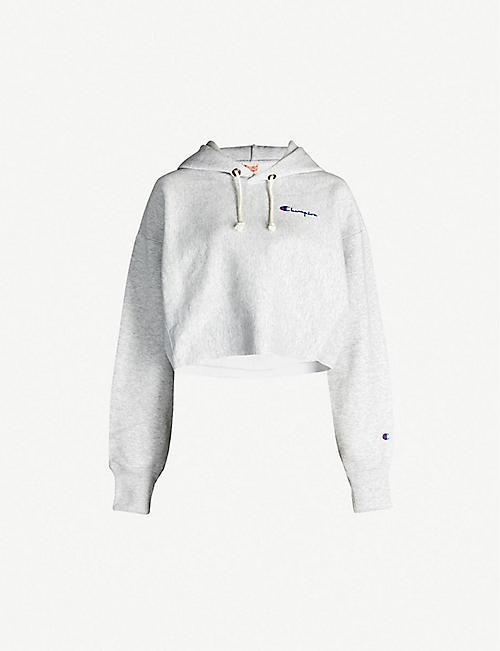 64dc3bf7eeac4 CHAMPION Cropped hooded cotton-blend sweatshirt