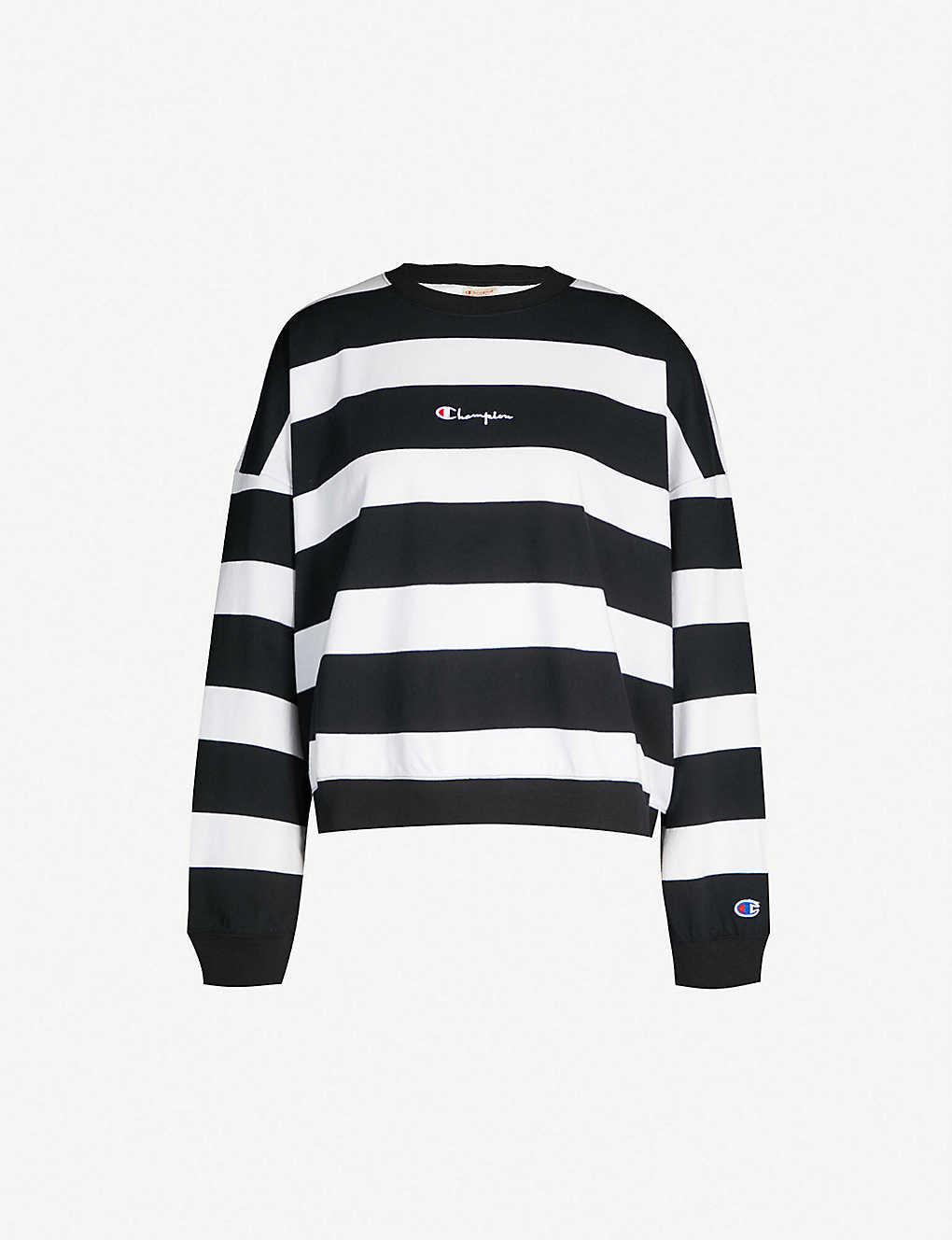 7d101629b9ef CHAMPION - Striped logo-print cotton-jersey sweatshirt   Selfridges.com