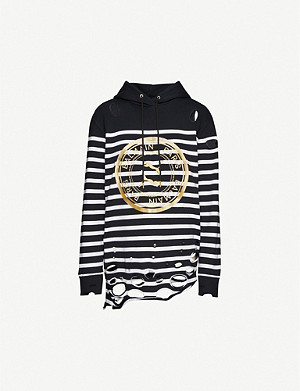 PUMA Puma x Balmain distressed striped stretch-knit hoody