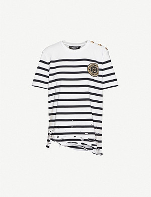 PUMA Puma x Balmain striped cotton-jersey T-shirt