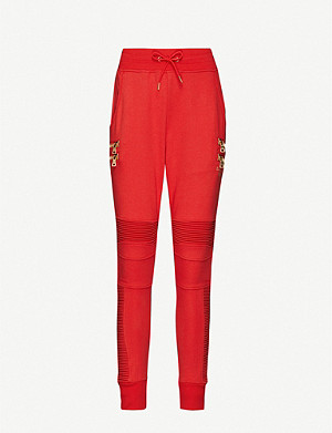 PUMA Puma x Balmain tapered high-rise cotton-jersey jogging bottoms