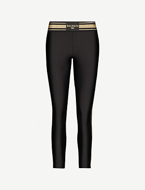 PUMA Puma x Balmain high-rise metallic striped-trim jersey leggings
