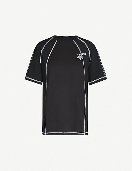 ADIDAS X ALEXANDER WANG Logo-embroidered cotton and satin T-shirt c7497e84eb8df