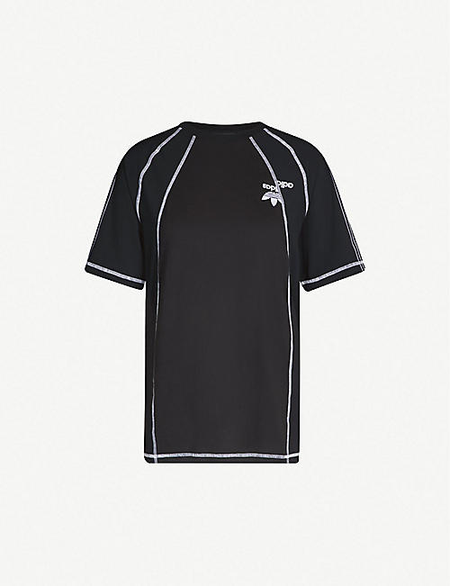 168853da582 ADIDAS X ALEXANDER WANG Logo-embroidered cotton and satin T-shirt