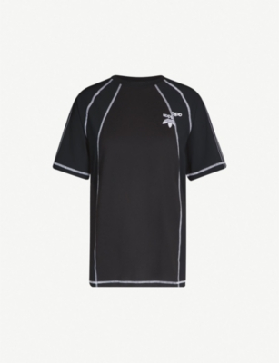 ADIDAS X ALEXANDER WANG Logo-embroidered cotton and satin T-shirt
