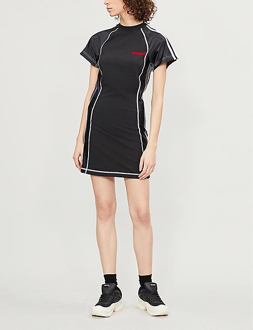 4049285cb4c ADIDAS X ALEXANDER WANG Logo-embroidered stretch-cotton and satin dress