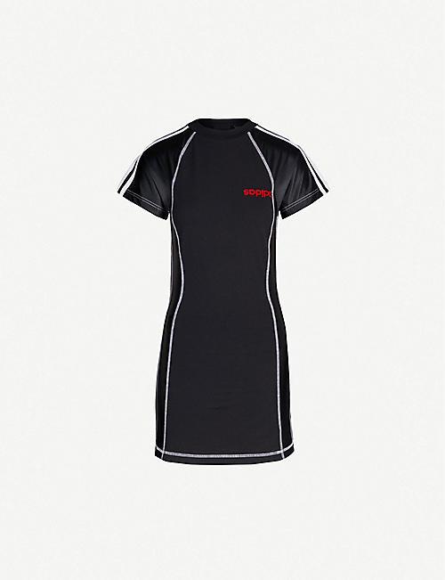 ADIDAS X ALEXANDER WANG Logo-embroidered stretch-cotton and satin dress 361ef29d6cffc