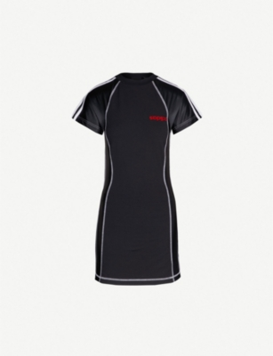 ADIDAS X ALEXANDER WANG Logo-embroidered stretch-cotton and satin dress