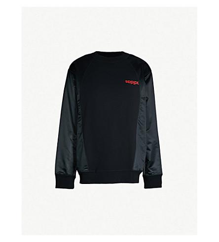 ADIDAS X ALEXANDER WANG Logo-print cotton and satin sweatshirt (Black c3fbaa22a281c
