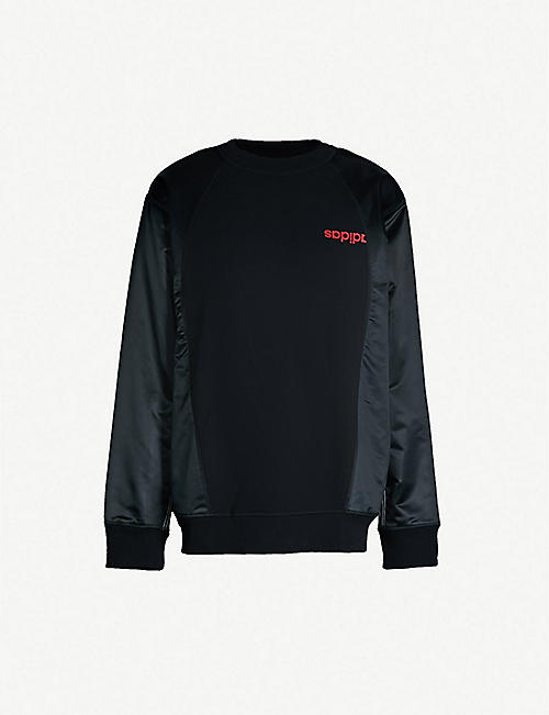 5e447a70b6 ADIDAS X ALEXANDER WANG Logo-print cotton and satin sweatshirt