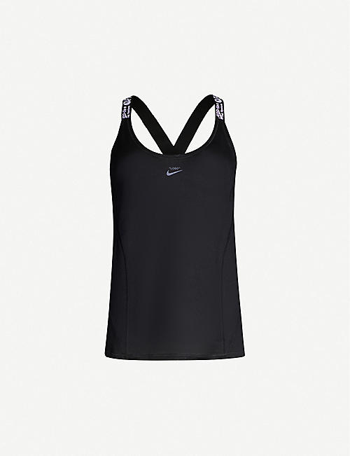 NIKE X OFF-WHITE Brand-print scoop-neck woven top