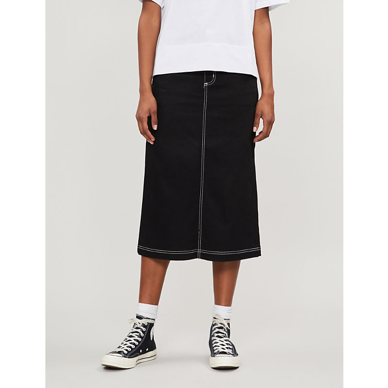 CARHARTT   W' Pierce High-Waisted Midi Denim Skirt   Goxip