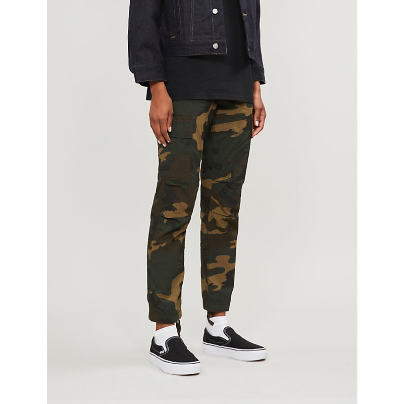CARHARTT   W' Cymbal Camouflage High-Rise Cotton Trousers   Goxip