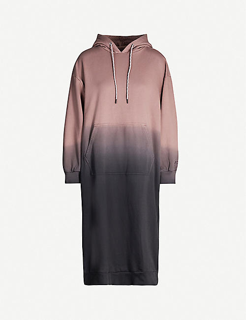 LI-NING Ombré -print cotton-jersey hoody dress