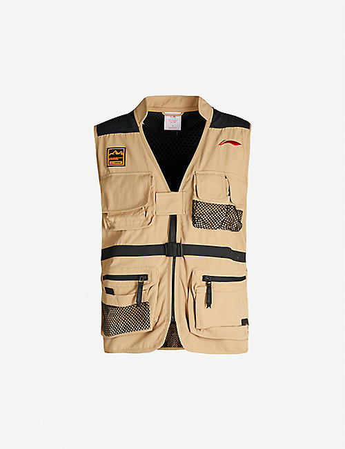 LI-NING Brand-embroidered V-neck wool-blend vest
