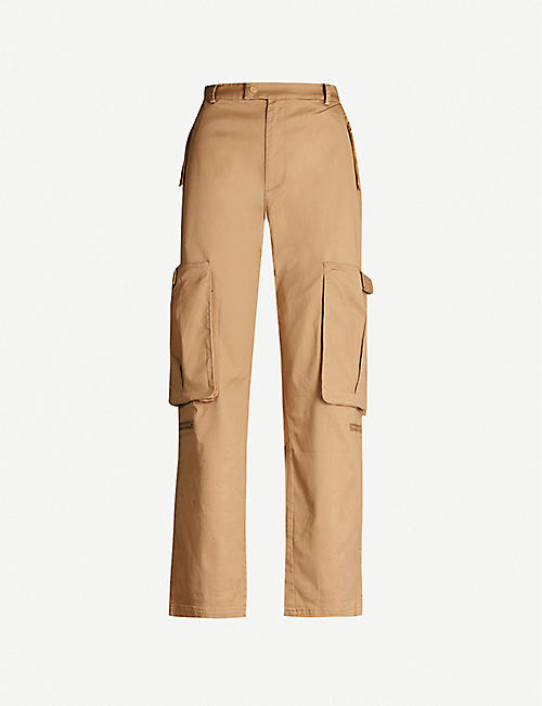 LI-NING Wide-leg cotton-twill cargo trousers
