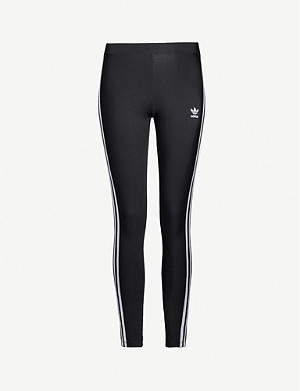 ADIDAS ORIGINALS Logo-embroidered stretch-cotton leggings